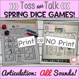 Toss and Talk, No prep dice games for Spring!