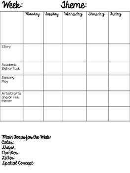 Tot School Planning Forms