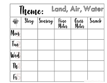 Tot School Themes - FREE PRINTABLE Unit Plans (Blank - You Fill) PART ONE