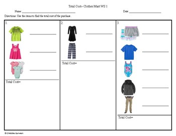 Total Cost Menu Math- Clothes Mart