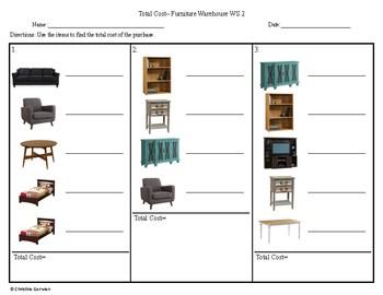 Total Cost Menu Math- Furniture Warehouse
