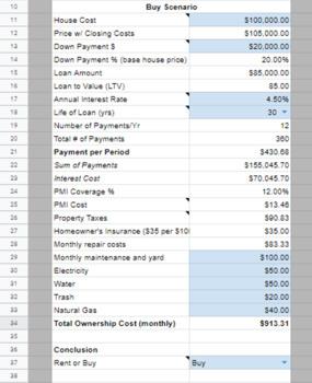 Total Cost Of Housing Calculator - Rent vs Buy   Google Sheet