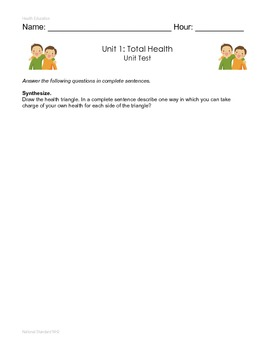 Total Health and Character Unit Test and Answer Key