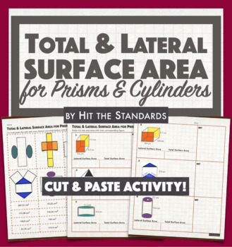 Total & Lateral Surface Area for Prisms & Cylinders with NETS (Cut & Paste!)