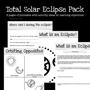 Total Solar Eclipse Activity Printable Pack