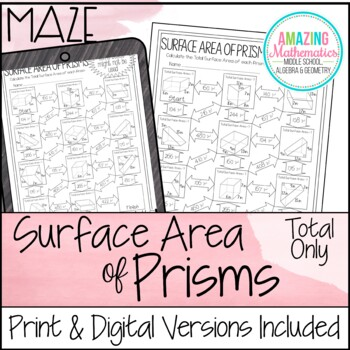 Total Surface Area Of Prisms Maze By Amazing Mathematics Tpt