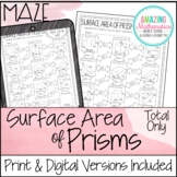 Total Surface Area of Prisms Worksheet - Maze Activity