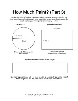Total and Lateral Surface Area:  How Much Paint? (Parts 1-10)