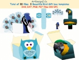 Total of 30 files. Three Beautiful Bird Gift box templates. Peacock box, owl box