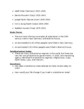 Totalitarianism Worksheet