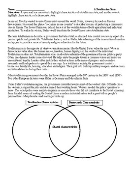 Totalitarianism and Democracy Venn Diagram Global/World History