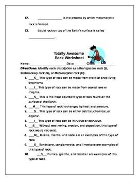 Totally Awesome Rock Worksheet
