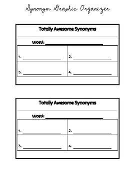 Totally Awesome Synonyms Graphic Organizer