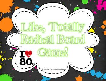 Totally Radical I Heart the 80's Board Game {Editable Question Cards}