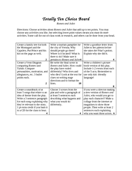 Totally Ten Romeo and Juliet Choice Board