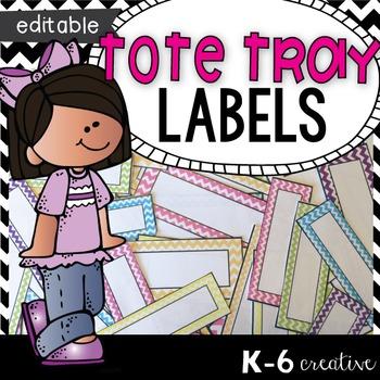 Tote Tray Labels - Chevron