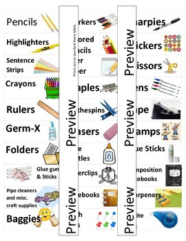 Tote Tray Labels -- School Supply Labels