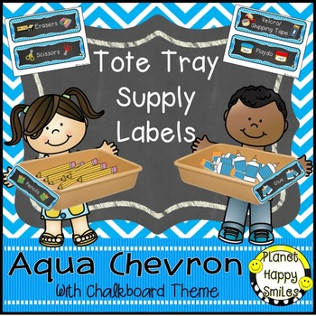Tote Tray Supply Labels, Aqua and Chalkboard Theme