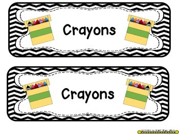 Tote Tray Supply Labels ~ Chevron B/W Print
