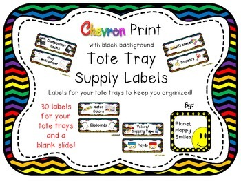 Tote Tray Supply Labels ~ Chevron Rainbow Print w/ black bkgd