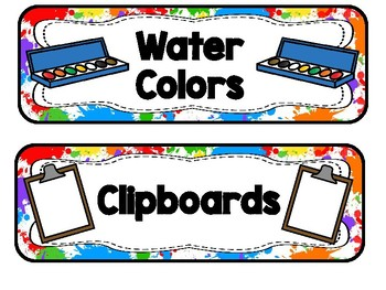 Tote Tray Supply Labels, Colorful Splashes Theme
