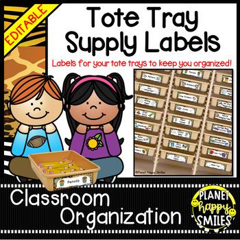 Tote Tray Supply Labels ~ Jungle/Safari Theme
