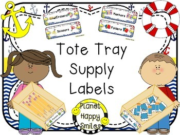 Tote Tray Supply Labels ~ Nautical