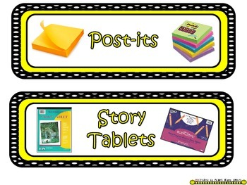 Tote Tray Supply Labels ~ Polka Dot B/W Print with Yellow