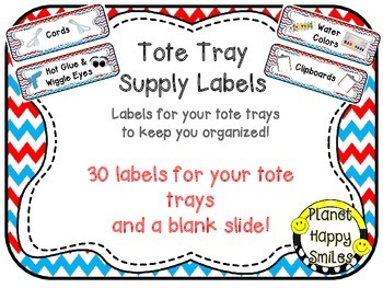 Tote Tray Supply Labels ~ Red, White and Blue Chevron