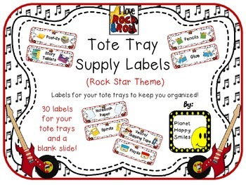 Tote Tray Supply Labels ~ Rock Star Theme