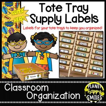 Tote Tray Supply Labels ~ Super Hero Theme