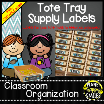 Tote Tray Supply Labels, Teal and Chalkboard Theme