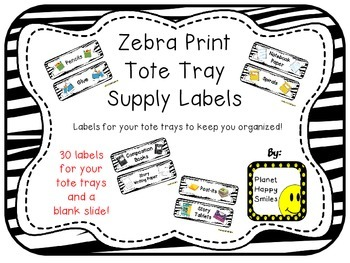 Tote Tray Supply Labels ~ Zebra Print
