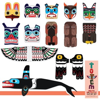 Totem Pole Clip Art Set Of The Pacific Northwest