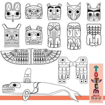 Totem pole clip art set of the pacific northwest tpt for Totem pole design template