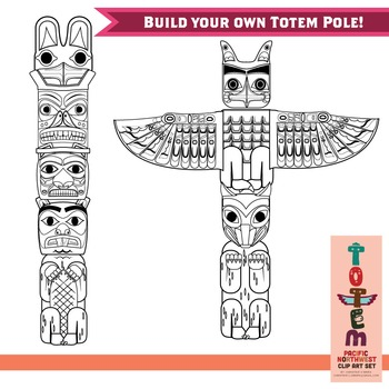Totem Pole Clip Art Set (of the Pacific Northwest)