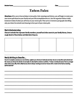 Totem Pole Worksheet