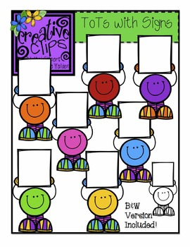 Tots with Signs {Creative Clips Digital Clipart}