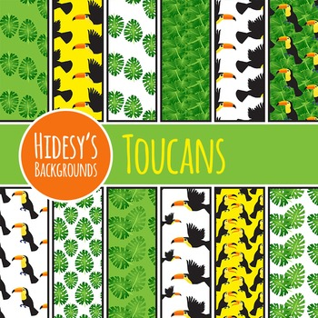 Toucan Background / Jungle DIgital Paper / Pattern Clip Art for Commercial Use