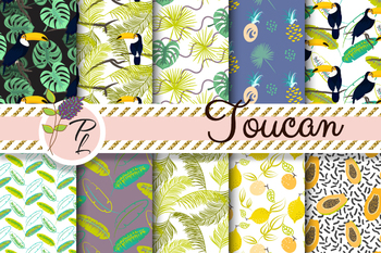 Toucan in Jungle Seamless Pattern Set. Digital paper pack.