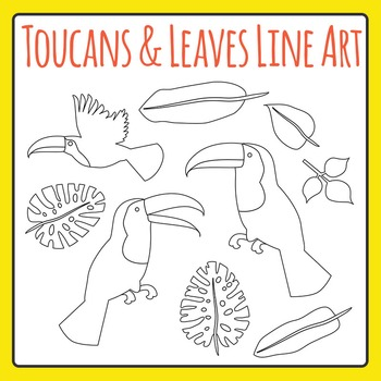 Toucans and Jungle Leaves Black and White Clip Art Set for