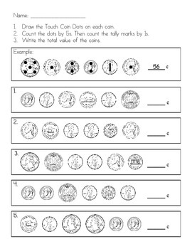 Touch Coins - Beginning Money Practice (Quarters, Dimes, Nickels, Pennies)