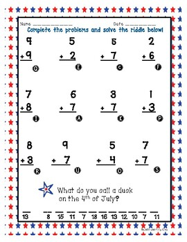 Touch Math 4th of July Worksheets