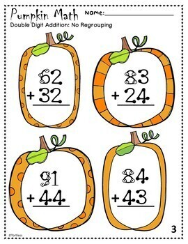 Touch Math Addition with Fall Pumpkin Theme: Double Digits with NO Regrouping