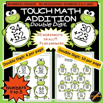 Touch Math Addition with Frog Theme: Double Digit Addition(Using Numbers 0 to 5)