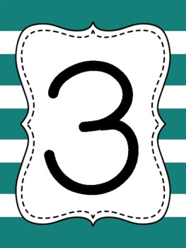 Touch Math Numbers {Teal Thick Stripe}