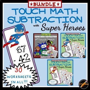 Touch Math Subtraction BUNDLE with Super Hero Theme