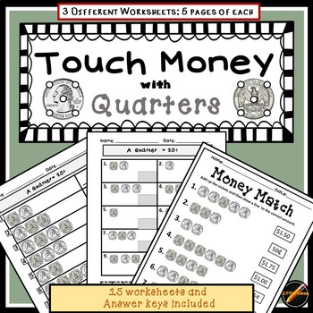Touch Money Worksheets: Quarters Only