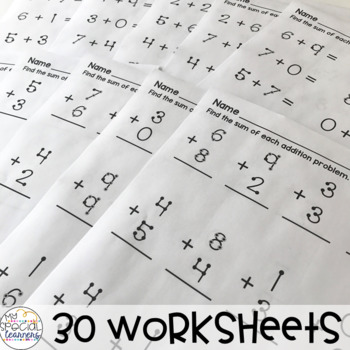 Touch Number Addition and Subtraction Worksheets