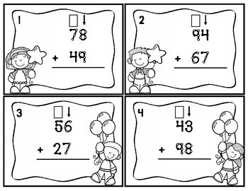 Touch Point Two Digit Addition Task Cards